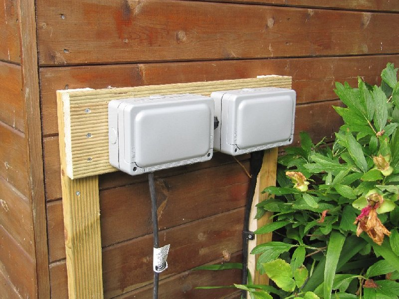 Outdoor sockets for shed